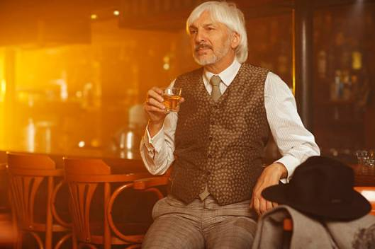 mature man and whiskey