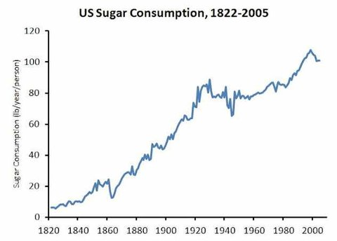 sugar consuption in US 1822-2005